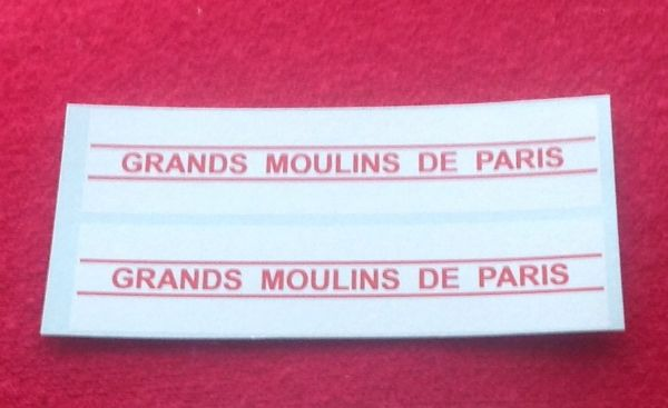 "FRENCH DINKY TOYS 25J SERIES "" GRANDS MOULINS DE PARIS "" WATERSLIDE TRANSFER SET. TRANSFERS / DECALS"